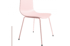 Silla London rosa acabado polipropileno con patas metálicas lacadas del mismo color, de Bogal