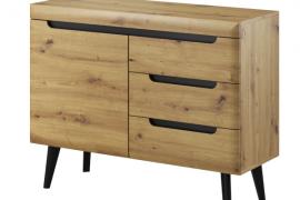 Aparador 107 Natural Wood, acabado color artisan combinado con patas negras.