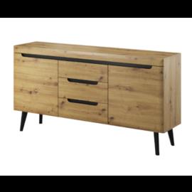 Aparador 160 natural wood con 2 puertas y 3 cajones centrales, acabado color artisan y patas negras.