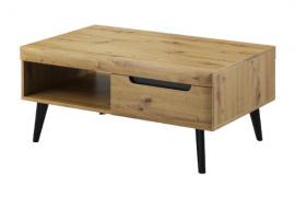 Mesa centro fija natural wood. Acabado aristan combinado con patas color negro de Konekta