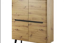 Módulo 4 puertas natural wodd acabado artisan con patas negras de estilo nórdico