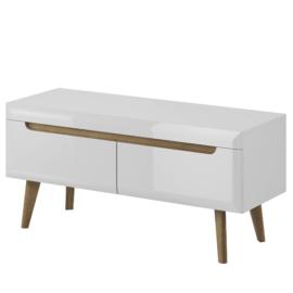 Mueble bajo TV 107 Clear Light-Blanco brillo combinado con artisan.