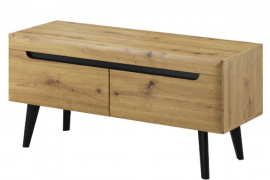 mueble tv 107 natural wood acabado artisan con patas negras.