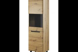 Vitrina alta natural wood con puerta de cristal mixta. Acabado color Artisan con patas color negro