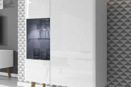 Vitrina baja CLEAR LIGHT con puerta de cristal mixta -Blanco brillo/artisan-ambiente