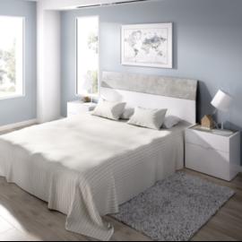 Dormitorio Gia blanco combinado cemento