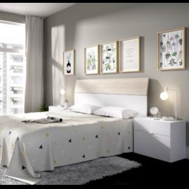 Dormitorio Gia blanco combinado natural