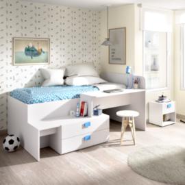 Cama compacta Chic con cajones y escritorio acabado blanco-TIRADOR AZUL