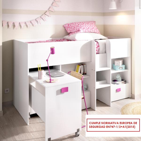Cama compacta alta Chic con cajones y escritorio extraíble del programa DEKIT del Grupo Rimobel