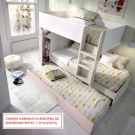 Cama tren Tom gris rosa con cama nido del programa Dekit del Grupo Rimobel