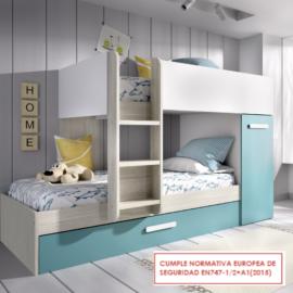 Cama tren Tom gris - esmeralda con cama nido del programa Dekit del Grupo Rimobel