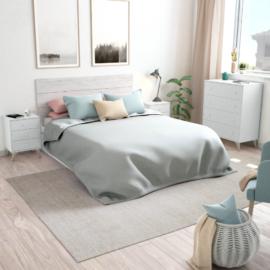 Dormitorio dreams con cabezal y dos mesitas de tres cajones, acabado blanco artik combinado con blanco velho
