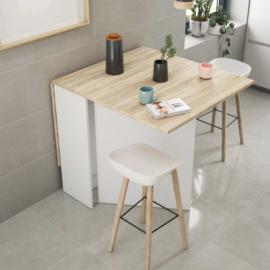 Mesa de cocina Volares acabado blanco artik combinado roble canadian. Alas abatibles . De Fores Diseño