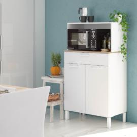 Mueble auxiliar de cocina para microondas acabado Blanco Artik combinado con Roble Canadian de Forés Diseño