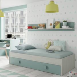 Cama nido Enjoy acabado Blanco Alpes combinado con Verde Aqua. Incluye estanteria de pared