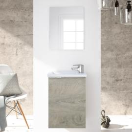 mueble de baño Compact con espejo y lavabo de resina acabado color Roble Alaska de Fores Diseño