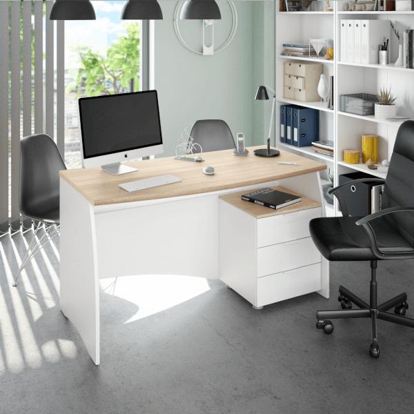 Mesa despacho Argon con buc tres cajones acabado blanco artik combinado roble canadian de Fores Diseño