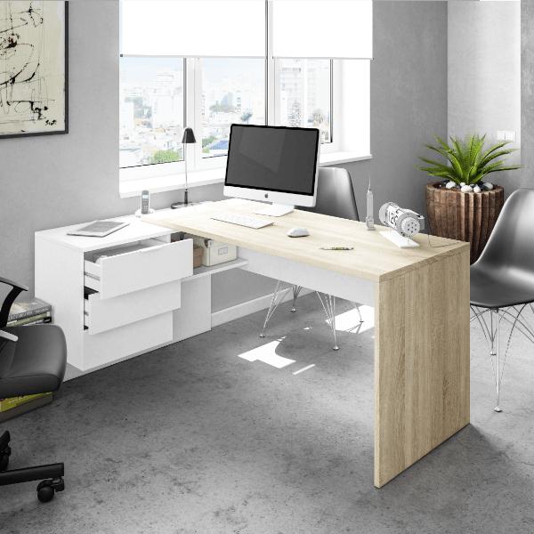 Mesa despacho Style con cajones y reversible acabado en color Roble Canadian combinado en color Blanco Artik de Fores Diseño