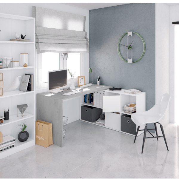 Mesa escritorio Adapta Plus reversible y con posibilidad de montaje en linea o rincón acabado Blanco Artik combinado Cemento de Fores Diseño