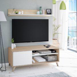 Mueble TV Relax Plus acabado Roble Canadian combinado blanco artik